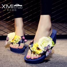 Harga Korea Fashion Style Perempuan Yang Berat Itu Bertumit Tinggi Sandal Jepit Sandal Sendal Bertumit Tinggi Kupu Kupu Daun Biru Terbaik