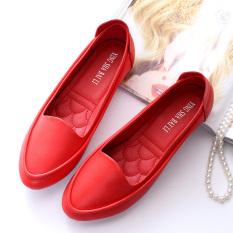 Beli Korea Fashion Style Pijakan Empuk Datar Dengan Sepatu Wanita Hamil Flat Shoes Tunggal Putri Sepatu Merah Pakai Kartu Kredit