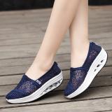 Spek Sepatu Kanvas Wanita Permukaan Jala Sol Lunak Bersirkulasi Udara Versi Korea Pijakan Empuk Renda Safir Biru Pijakan Empuk Renda Safir Biru