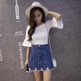 Promo Korea Fashion Style Pinggang Koboi Pendek Rok Rok Jeans Biru Tua Warna Baju Wanita Rok Oem Terbaru