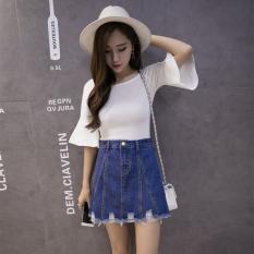 Korea Fashion Style Pinggang Koboi Pendek Rok Rok Jeans (Biru Tua Warna) baju wanita rok