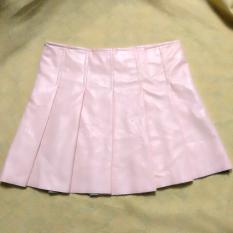 Toko Korea Fashion Style Poly Urethane Pinggang Tinggi Terlihat Langsing Rok Lipatan Rok Kulit Bedak Baju Wanita Rok Yang Bisa Kredit