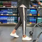 Harga Korea Fashion Style Pria Bergaris Slim Musim Semi Dan Gugur Celana Kasual Abu Abu Yang Bagus