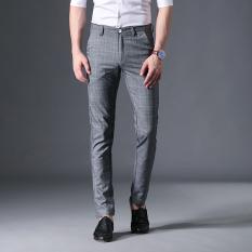 Promo Korea Fashion Style Pria Gelap Kotak Kotak Slim Celana Kaki Baru Kasual Celana Abu Abu Murah