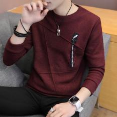 Korea Modis Gaya Pria Leher Bulat Pada Baju Dalaman Baru Lengan Panjang Kaos (885 Bulu Arak Anggur)