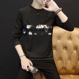 Harga Korea Fashion Style Pria Lengan Panjang Laki Laki Kaos Sweater T Shirt Bagian Tipis Parket Hitam Branded