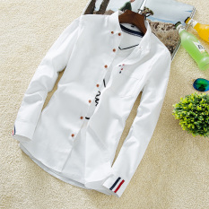 Korea Fashion Style Pria Lengan Panjang Musim Gugur Slim Baju Kemeja Cs42 Putih Untuk Mengirim Lengan Panjang Putih T Shirt Diskon Tiongkok