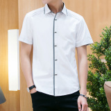 Spesifikasi Korea Fashion Style Pria Musim Panas Slim Kemeja Putih Lengan Pendek Kemeja Putih Merk Other