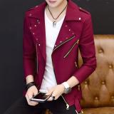 Model Jaket Slim Pria Gaya Korea Anggur Merah Anggur Merah Terbaru