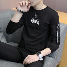 Korea Modis Gaya Pria Remaja Baju Musim Gugur Baru Lengan Panjang Kaos (9066 Hitam)