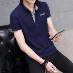Lengan Pendek Baju Kaos Pria Pemuda Versi Korea Membentuk Tubuh Kerah Turndown Polo Shirt Musim Panas
