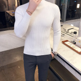 Jual Korea Fashion Style Pria Slim Bergaris Kemeja Rajut Kaos Putih Online Tiongkok