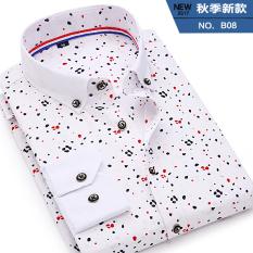 Beli Korea Fashion Style Pria Slim Dicetak Kemeja Putih Lengan Panjang Kemeja B08 Lengan Panjang Baju Atasan Kaos Pria Kemeja Pria Tiongkok