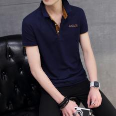 Toko Korea Fashion Style Pria Slim Kerah Turndown T Shirt Kemeja Polo Biru Tua Oranye Kerah Baju Atasan Kaos Pria Kemeja Pria Lengkap Di Tiongkok