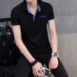 Korea Fashion Style Pria Slim Kerah Turndown T Shirt Kemeja Polo Hitam Kerah Biru Baju Atasan Kaos Pria Kemeja Pria Original