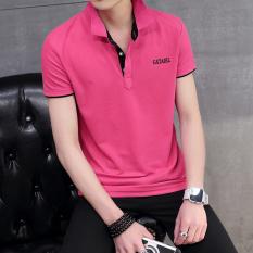 Jual Korea Fashion Style Pria Slim Kerah Turndown T Shirt Kemeja Polo Merah Mawar Kerah Hitam Baju Atasan Kaos Pria Kemeja Pria Murah Tiongkok
