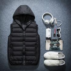 Korea Fashion Style Pria Slim Lebih Tebal Pakaian Pria Jas Katun Rompi (Hitam)