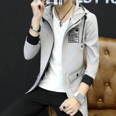 Toko Korea Fashion Style Pria Slim Musim Semi Dan Gugur Baru Kasual Jaket Berkerudung Jas Abu Abu Terang Other Di Tiongkok