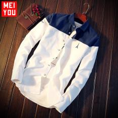 Korea Fashion Style pria Slim remaja kemeja lengan panjang baju kemeja (Biru tua putih) baju atasan kaos pria kemeja pria