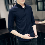 Beli Korea Fashion Style Pria Slim Stand Up Kerah Lengan Pendek Mahasiswa Kemeja Lengan Baju Kemeja Biru Tua Murah