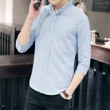Beli Korea Fashion Style Pria Slim Stand Up Kerah Lengan Pendek Mahasiswa Kemeja Lengan Baju Kemeja Langit Biru Dengan Kartu Kredit