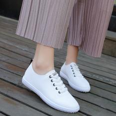 Sepatu Kets Wanita Sol Datar Bertali Bersirkulasi Udara Versi Korea (Model Wanita + Hitam) (Model Wanita + Hitam)