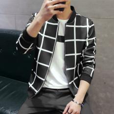 Harga Korea Fashion Style Remaja Memukul Warna Ritsleting Sweter Kardigan Pria Stand Up Kerah Jaket J426 Hitam Jaket Pria Jaket Bomber Oem