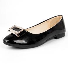 Korea Fashion Style S Ukuran Besar Sepatu Kerja Mulut Dangkal Datar Dengan Sepatu (Hitam)