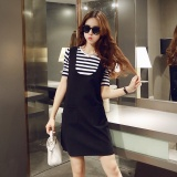 Harga Korea Fashion Style Semi Dan Baru Lengan Pendek Bergaris Wanita T Shirt Lengan Pendek T Shirt Overall Baju Wanita Dress Wanita Gaun Wanita Satu Set