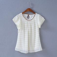 Spesifikasi Korea Fashion Style Semi Dan Leher Bulat Kotak Kotak Slim Lengan Pendek T Shirt Putih Baju Wanita Baju Atasan Kemeja Wanita Lengkap Dengan Harga