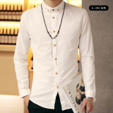 Korea Fashion Style Sepatu Linen Slim Pria Warna Solid Kemeja Putih Kemeja 5 332 Murah