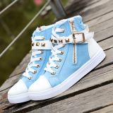 Toko Korea Fashion Style Sepatu Wanita Musim Semi Dan Musim Gugur Datar Sepatu Bot Pendek Dr Martens Biru Terlengkap Di Tiongkok
