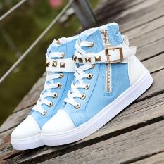 Toko Korea Fashion Style Sepatu Wanita Musim Semi Dan Musim Gugur Datar Sepatu Bot Pendek Dr Martens Biru Lengkap Di Tiongkok