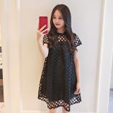 Review Dress Chiffon Wanita Gaya Korea Hitam Hitam Di Tiongkok