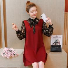 Korea Modis Gaya Jersey Rayon Baru Wanita Hamil Gaun Baju Menyusui (Anggur Merah)