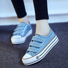 Harga Korea Fashion Style Siswa Perempuan Datar Sepatu Sol Tebal Kanvas Sepatu Light Blue Sol Tebal Model Oem Asli
