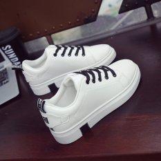 Korea Fashion Style Siswa Perempuan Sol Tebal Sepatu Wanita Sepatu Kets Putih (Hitam)