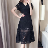 Dapatkan Segera Gaun Lengan Pendek Renda Gaun Korea Fashion Style Musim Panas Perempuan Hitam