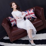 Jual Korea Fashion Style Slim Lengan Panjang Kerah Tinggi Cheongsam Gaun 8209 Putih Baju Wanita Dress Wanita Gaun Wanita Other Branded