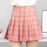 Ulasan Korea Fashion Style Siswa Perempuan Kata Setengah Badan Rok Kotak Kotak Rok Lipatan Merah Muda Warna