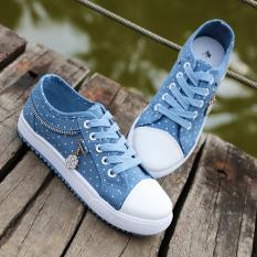Harga Hemat Korea Fashion Style Smp Siswa Flat Shoes Bernapas Sepatu Kanvas Sepatu Light Blue Sepatu Wanita Sepatu Sport Sepatu Sneakers Wanita