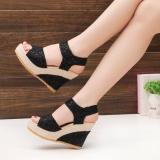 Beli Korea Fashion Style Sol Tebal Datar Tergelincir Lereng Dengan Sepatu Sandal Summer Mahal Hitam Murah Tiongkok