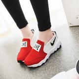 Spesifikasi Korea Fashion Style Sol Tebal Sepatu Slip On Sepatu Putih Merah Sepatu Wanita Sepatu Sport Sepatu Sneakers Wanita Terbaru