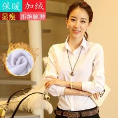 Harga Korea Fashion Style Tambah Beludru Profesi Lengan Panjang Lebih Tebal Kemeja Putih Bagian Tipis Tidak Tambah Beludru Baju Wanita Baju Atasan Kemeja Wanita Blouse Wanita Online Tiongkok