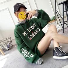 Korea Fashion Style Tambah Beludru SMA Siswa Longgar Kaos Sweater (Hijau)
