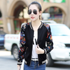 Korea Fashion Style Ukuran Besar Kemeja Bisbol Siswa Jaket Pendek Musim Gugur Jas (Bunga Phoenix Le