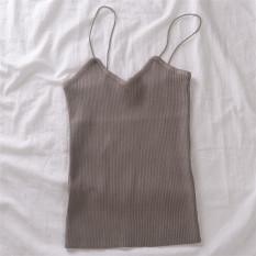 Harga Korea Fashion Style Warna Solid Musim Semi Dan Musim Panas Baru Rajutan Sling Vest Unta Original