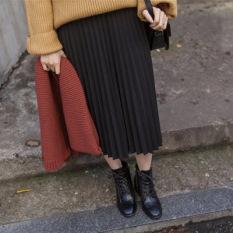 Korea Fashion Style Warna Solid Pinggang Tinggi Rok Kata Sifon Rok Lipit (Hitam)