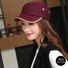 Korea Modis Gaya Wol Hitam Perempuan Panggul Hop Benn Topi Datar Topi (Arak  Anggur Warna 3a4bddae86