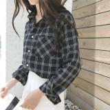 Harga Korea Kapas Perempuan Musim Gugur Lengan Panjang Kemeja Kemeja Kotak Kotak Hitam Seken